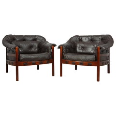 Pair of Leather Armchairs by Arne Norrell, circa 1960