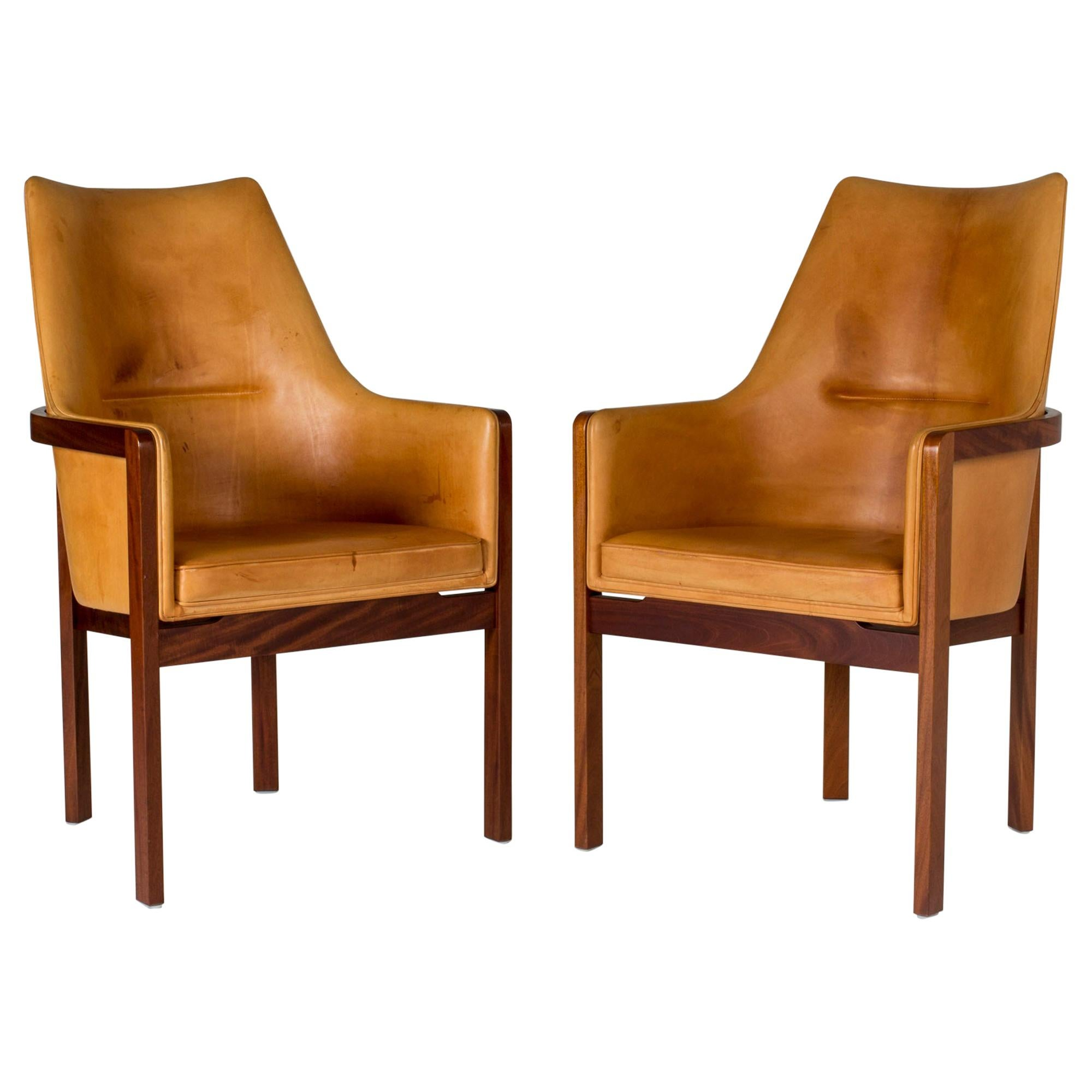 Pair of Leather Armchairs by Bernt Petersen