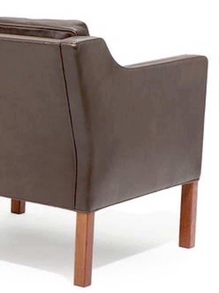 Danish Pair of Leather Armchairs by Børge Mogensen For Sale