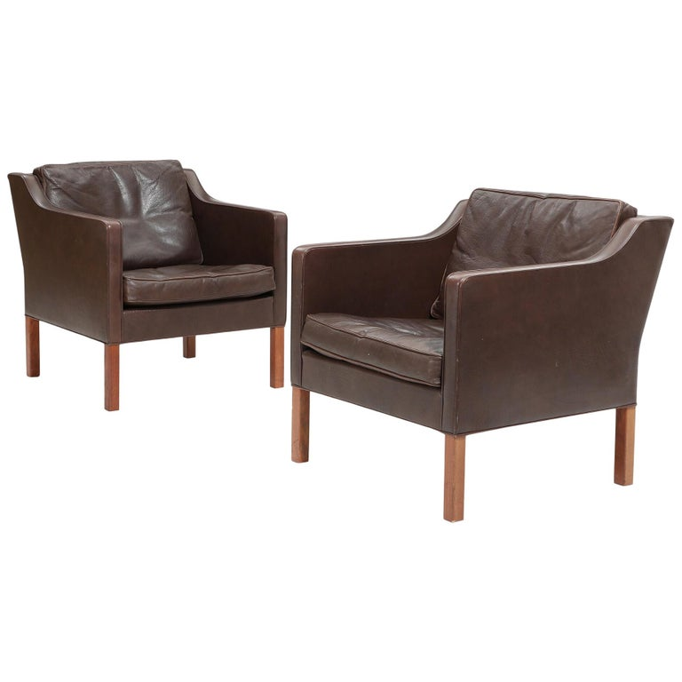 Pair of Leather Armchairs by Børge Mogensen For Sale
