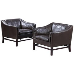 Pair of Leather Armchairs by Grant Møbelfabrik
