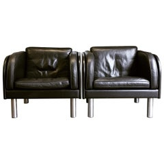 Pair of Leather Armchairs by Jörgen Gammelgaard for Erik Jørgensen Møbelfabrik