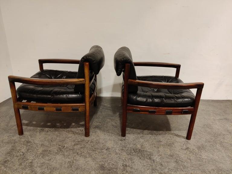 Scandinavian Modern Pair of Leather Armchairs by Sven Ellekaer for Coja, 1960s