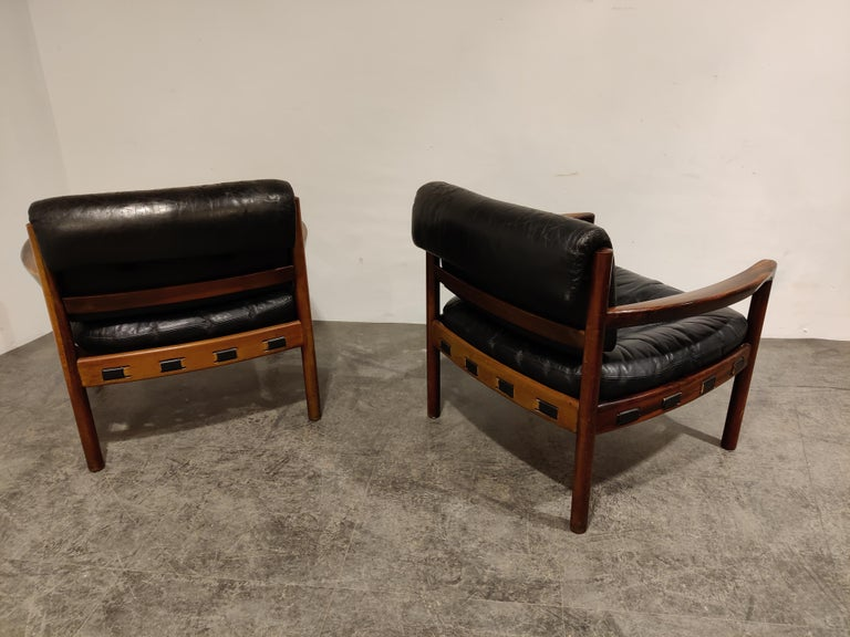 Danish Pair of Leather Armchairs by Sven Ellekaer for Coja, 1960s
