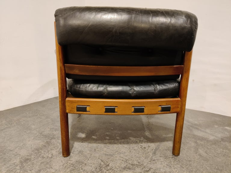 Pair of Leather Armchairs by Sven Ellekaer for Coja, 1960s  In Fair Condition In Ottenburg, BE