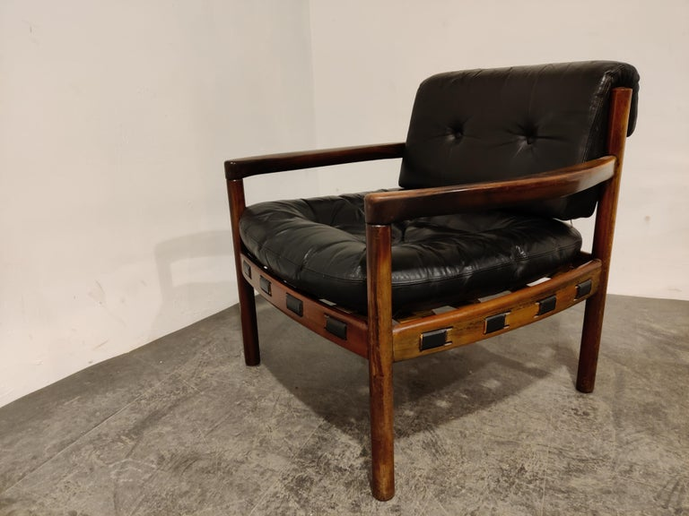 Mid-20th Century Pair of Leather Armchairs by Sven Ellekaer for Coja, 1960s