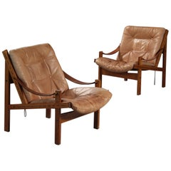 Pair of Leather Armchairs by Thorbjørn Afdal