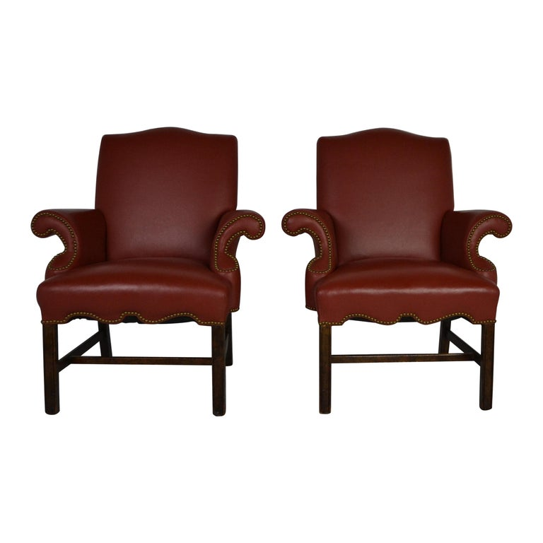 Pair of Leather Armchairs For Sale