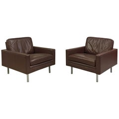 Pair of Leather Armchairs in the Style of Florence Knoll, circa 1950-1960