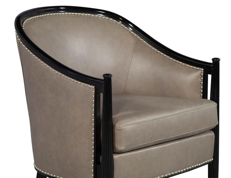 Pair of Leather Art Deco Parlor Armchairs with Black Lacquer Finish For Sale 4