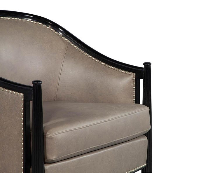 Pair of Leather Art Deco Parlor Armchairs with Black Lacquer Finish For Sale 6