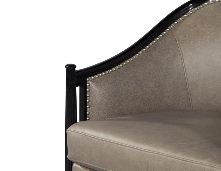 Pair of Leather Art Deco Parlor Armchairs with Black Lacquer Finish In Excellent Condition For Sale In North York, ON