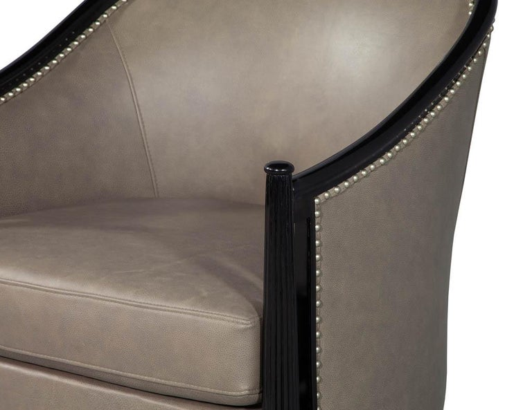 Contemporary Pair of Leather Art Deco Parlor Armchairs with Black Lacquer Finish For Sale