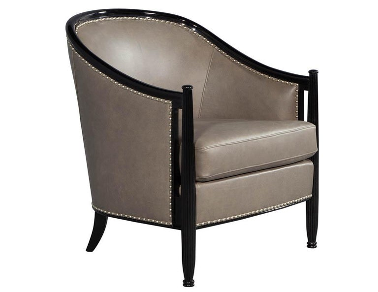 Metal Pair of Leather Art Deco Parlor Armchairs with Black Lacquer Finish For Sale
