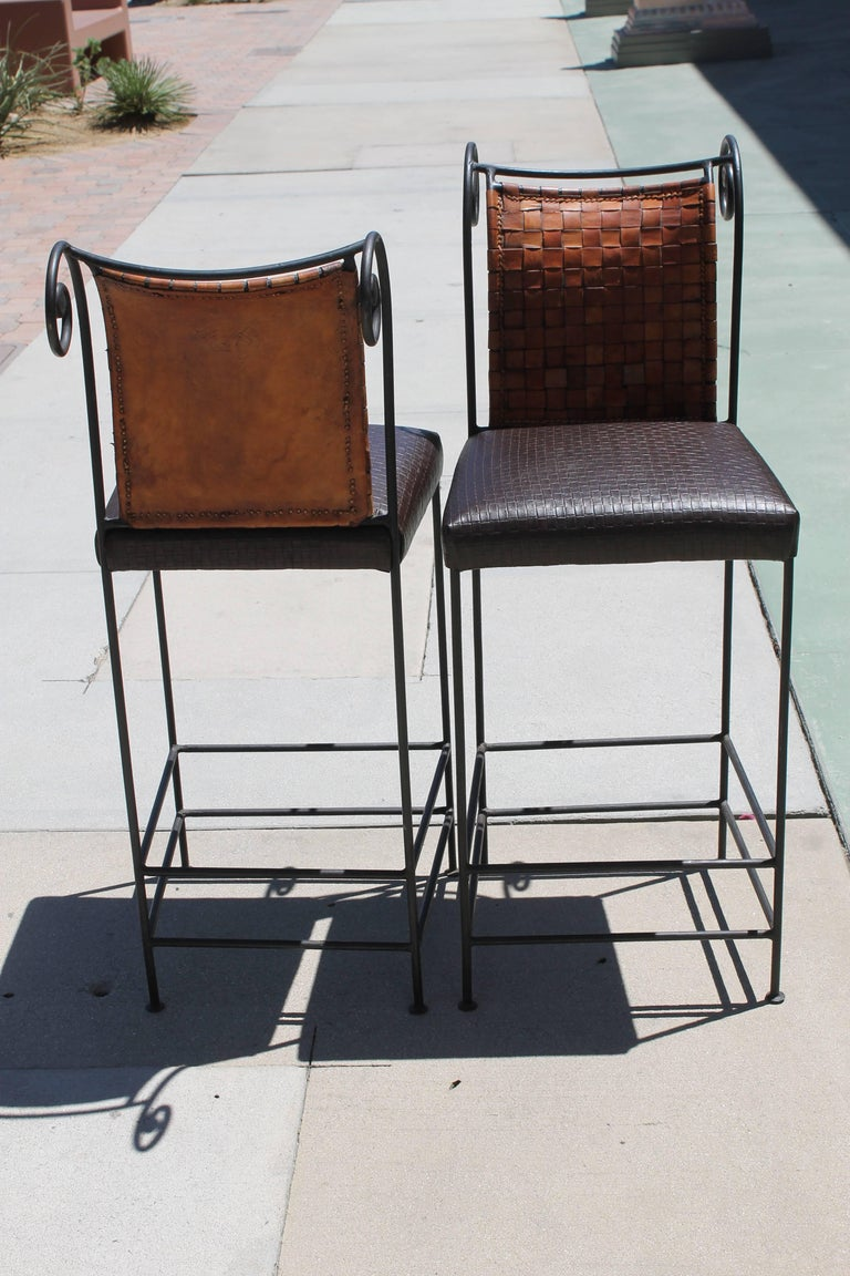 American Pair of Leather Bar Stools For Sale