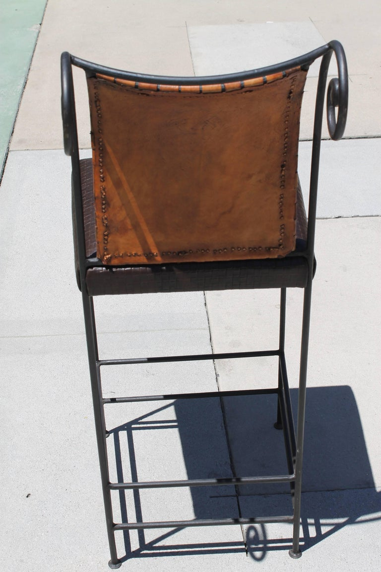 Pair of Leather Bar Stools For Sale 1