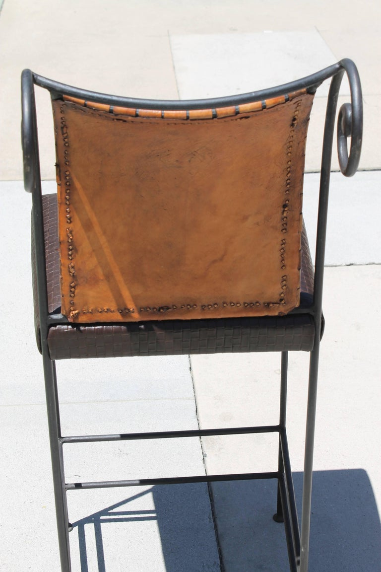 Pair of Leather Bar Stools For Sale 2
