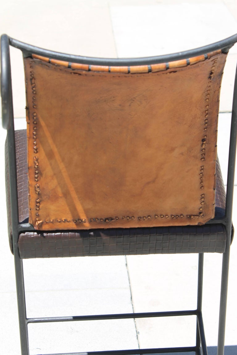 Pair of Leather Bar Stools For Sale 3