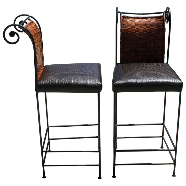 Pair of Leather Bar Stools For Sale