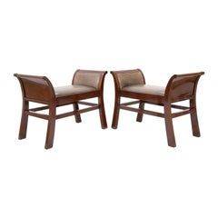 Pair of Leather Benches Designed by Jacques Grange for John Widdicomb