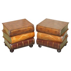 Pair of Leather Bound Scholars Library Stacking Books Side Tables with Drawers