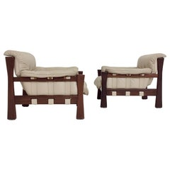 Pair of Leather Brazilian Armchairs, circa 1970