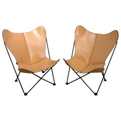 Pair of Leather Butterfly Chairs
