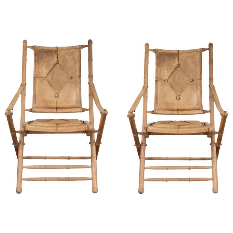 Pair of Leather Campaign Style Folding Chairs