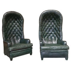 Pair of Leather Chesterfield Armchairs