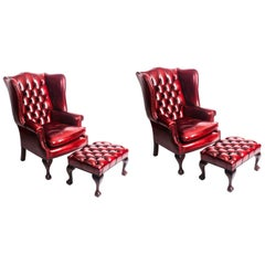 Pair of Leather Chippendale Wing Back Armchairs and Pair Stools Ruby Red