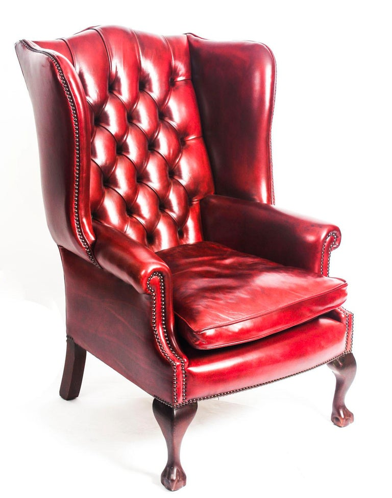 Bespoke Pair Of Leather Chippendale Wing Back Armchairs