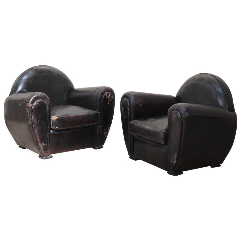 Pair of Leather Club Armchairs For Sale