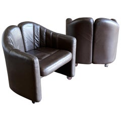 Pair of Leather Club Chairs by Exklusiv Furniture of Costa Rica, circa 1975