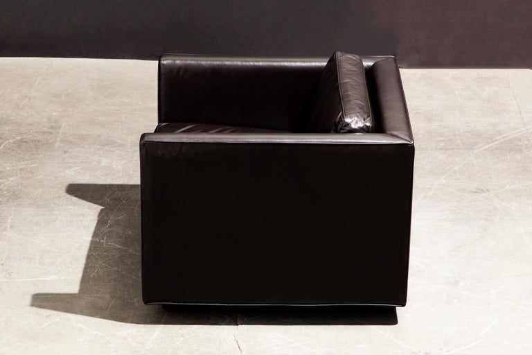Pair of Leather Club Chairs by Ward Bennett for Brickel Associates, 1983, Signed 5