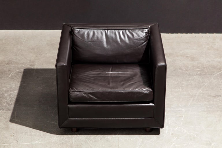 Pair of Leather Club Chairs by Ward Bennett for Brickel Associates, 1983, Signed In Excellent Condition In Los Angeles, CA