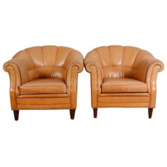 Pair of Leather Club Chairs D425
