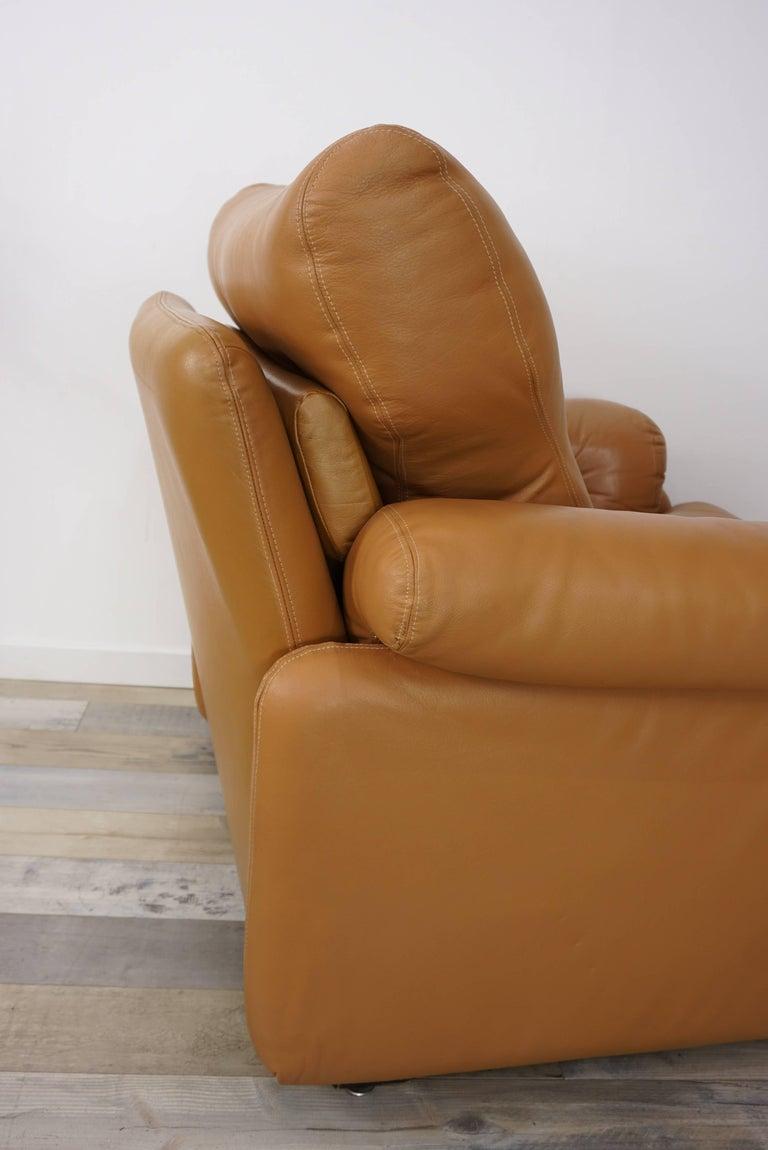 Pair of Leather Coronado Armchairs Design Afra & Tobia Scarpa for B&B Italia For Sale 4