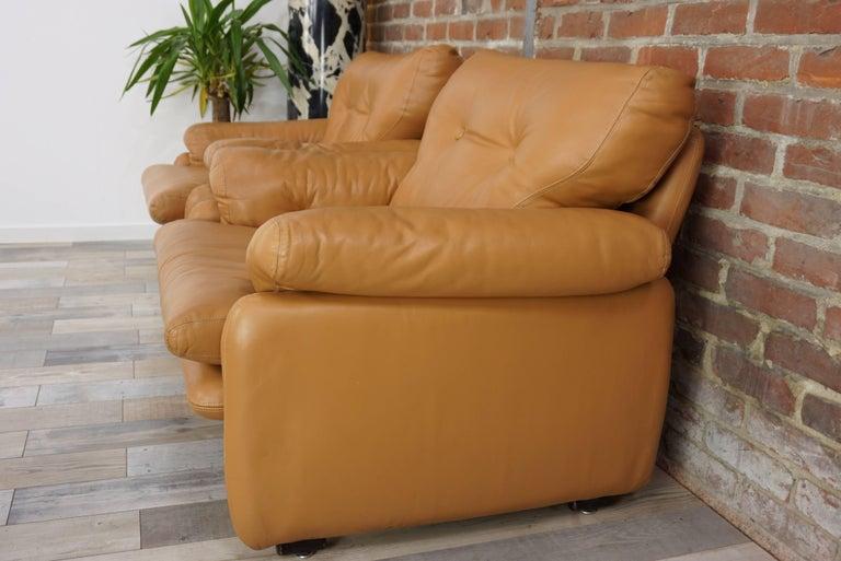 Pair of Leather Coronado Armchairs Design Afra & Tobia Scarpa for B&B Italia For Sale 10