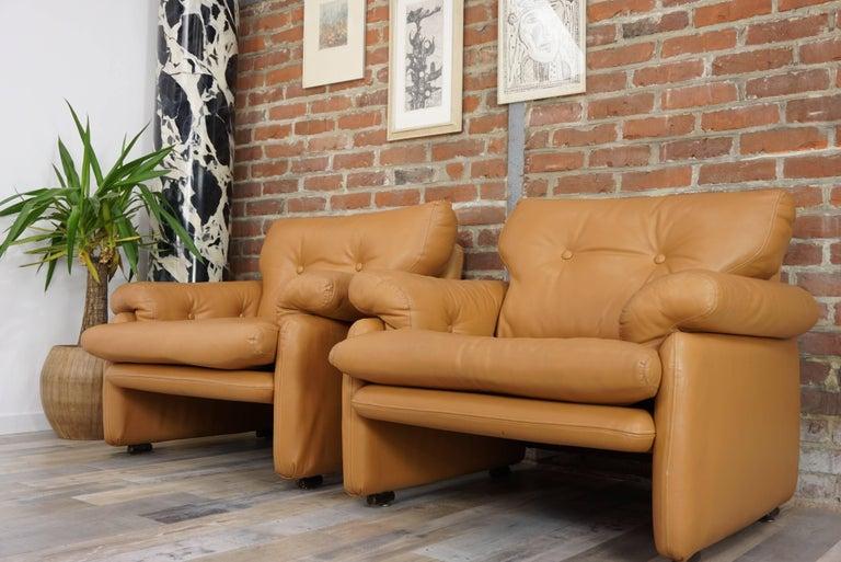 Pair of Leather Coronado Armchairs Design Afra & Tobia Scarpa for B&B Italia For Sale 11