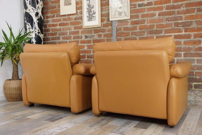 Pair of Leather Coronado Armchairs Design Afra & Tobia Scarpa for B&B Italia For Sale 12