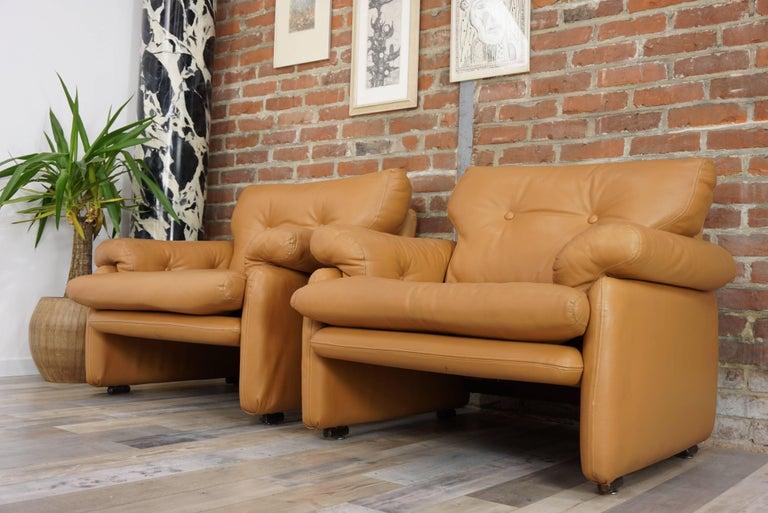 Pair of Leather Coronado Armchairs Design Afra & Tobia Scarpa for B&B Italia For Sale 13