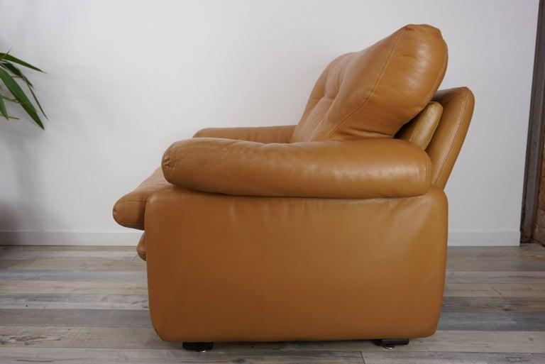 European Pair of Leather Coronado Armchairs Design Afra & Tobia Scarpa for B&B Italia For Sale