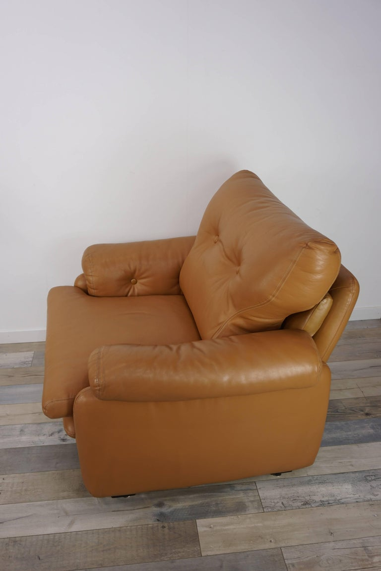 Pair of Leather Coronado Armchairs Design Afra & Tobia Scarpa for B&B Italia In Excellent Condition For Sale In TOURCOING, FR