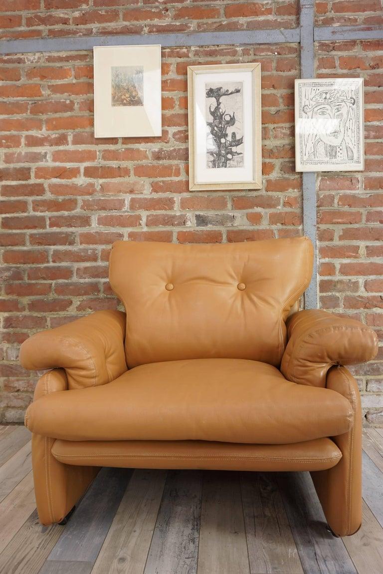 20th Century Pair of Leather Coronado Armchairs Design Afra & Tobia Scarpa for B&B Italia For Sale