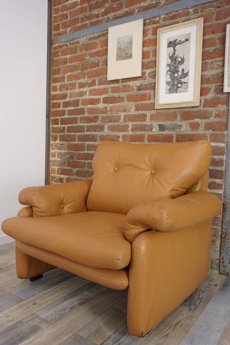 Pair of Leather Coronado Armchairs Design Afra & Tobia Scarpa for B&B Italia For Sale 1