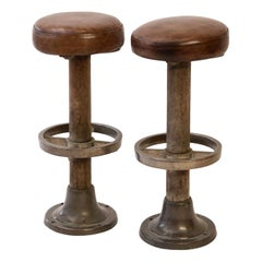 Pair of Leather-Covered Barstools