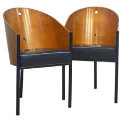Pair of Leather Covered Costes Armchairs by Philippe Starck for Driade, Italy