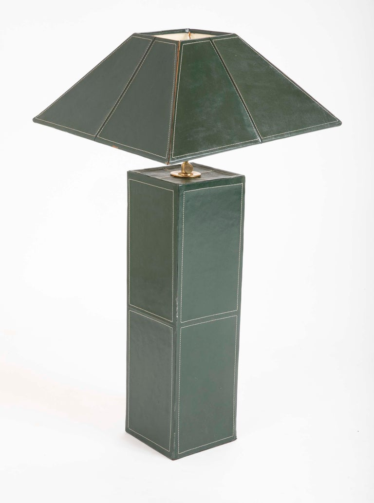 French Pair of Leather Covered Lamps in the Manner of Jacques Adnet For Sale