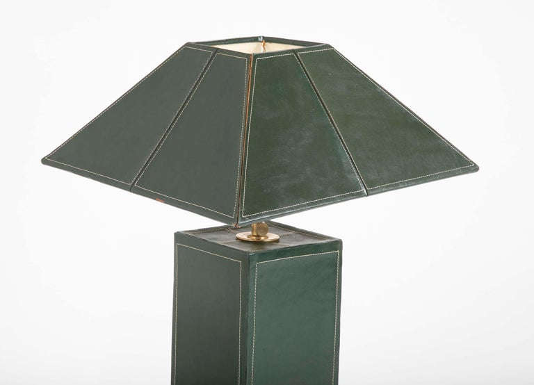 Pair of Leather Covered Lamps in the Manner of Jacques Adnet In Good Condition For Sale In Stamford, CT