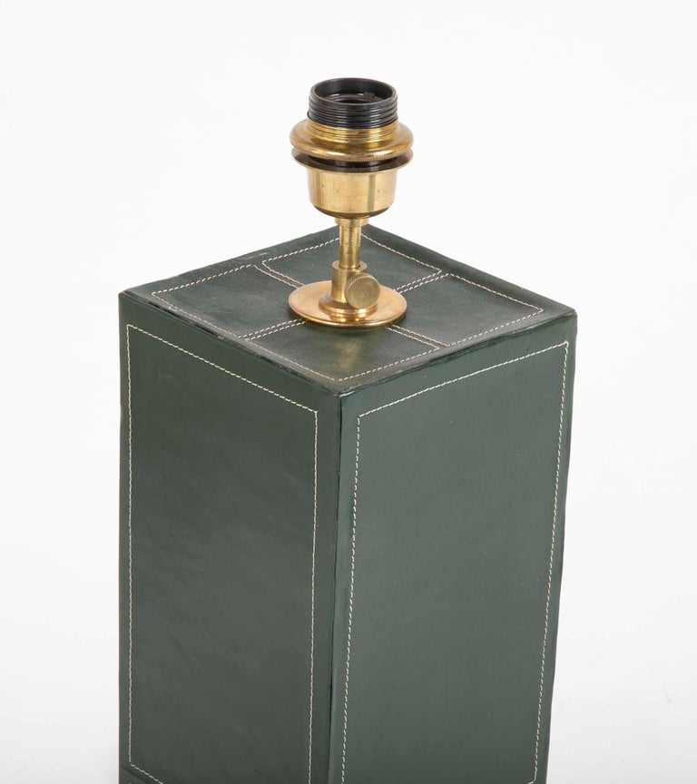 20th Century Pair of Leather Covered Lamps in the Manner of Jacques Adnet For Sale